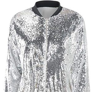 New without tags. Unisex silver sequin bomber